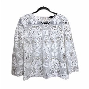 Haute Monde White Lace Overlay blouse NEW L